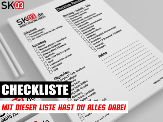 Motorrad Checkliste für das nächste Event auf der Rennstrecke