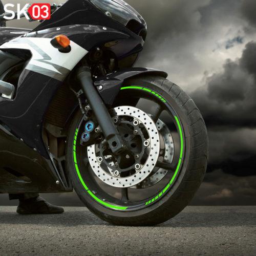 Felgenrandaufkleber neon grün für 17 Zoll Motorrad Felgen