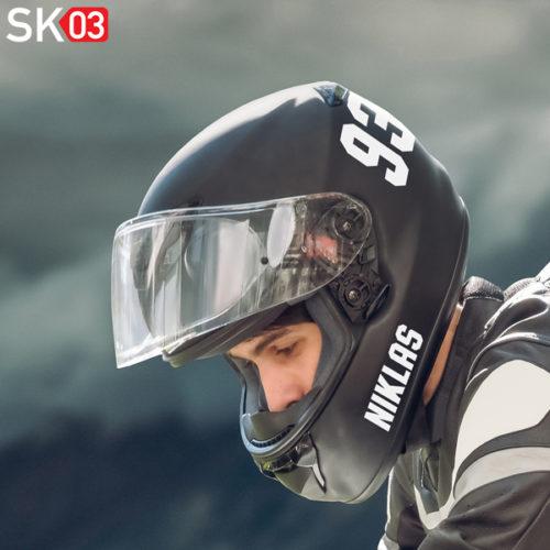 Motorrad Helmaufkleber mit Name und Startnummer
