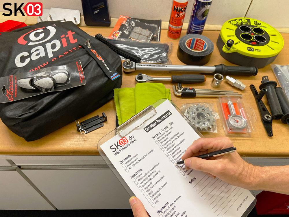 Motorrad Rennstrecken Checkliste für die Ersatzteile