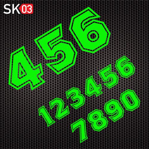 Motorrad Startnummern Zahlen Dekor in neongrün