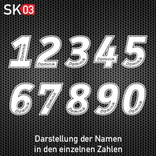Nummernaufkleber für Auto und Motorrad Rennsport mit Namen