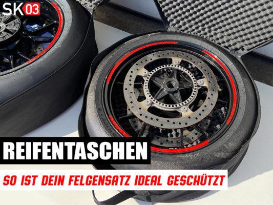 Gepolsterte Reifentasche für Motorrad Felgen