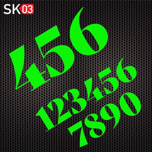 Startnummer aus Folie geschnitten für ein Motorrad in neongrün
