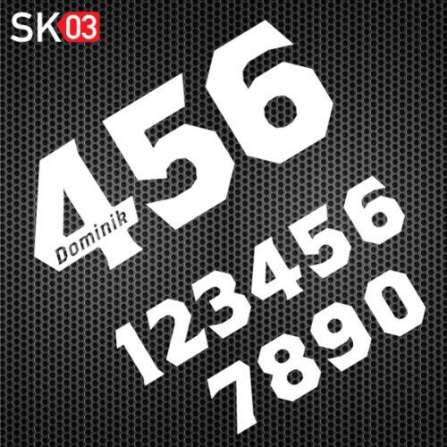 Startnummer Motorrad Rennsport mit Fahrername in der Zahl