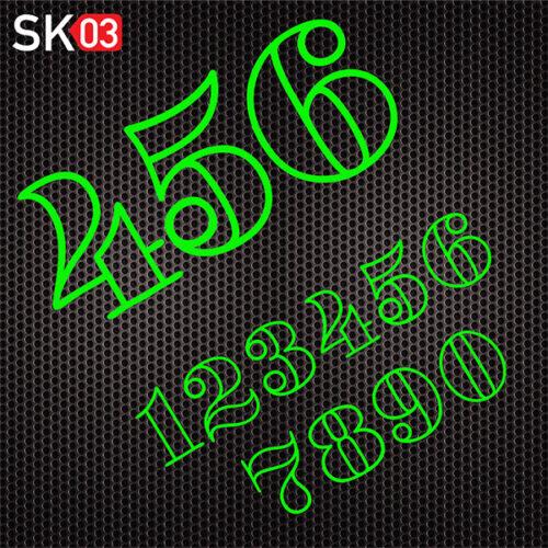 Motorrad Startnummern Konfigurator für Zahlen in neongrün