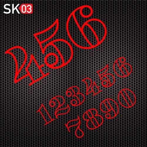 Motorrad Startnummern Konfigurator für Zahlen in neonrot